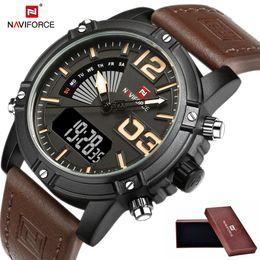 2018 NAVIFORCE fashion luxury brand men's waterproof uniforms sports watch men's luxury quartz digital leather watch relogio masculino