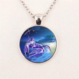 free shipping Wholesale Picture Pendant zodiac Gemini Glass Photo Cabochon pendant Jewelry glass gemstone necklace 211