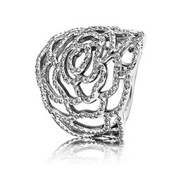 Wholesale 2015 Summer New Arrival Silver Large Rose Ring with Clear CZ Sterling Silver Ring Match Pandora DIY Fine Jewelry CE681