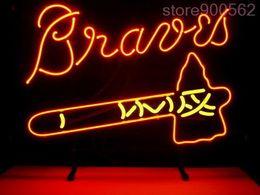 Wholesale FOR MLB ATLANTA BRAVES REAL GLASS NEON SIGN LIGHT BEER BAR PUB quot