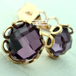 9K 9CT Rose GOLD Filled With Amethyst Crystal Stud Earrings E139A