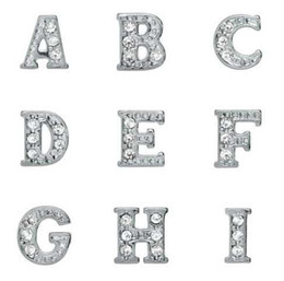 Rhinestones Silver Plated Alphabet Letters A-Z Alloy Floating Charms Fit For Glass Locket DIY Jewelrys Free shipping