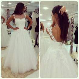Real Romantic Wedding Dresses Spaghetti Ruched Appliques A line Chapel Lace Up Back Sweep Tarin Tulle Bridal Gowns Custom made