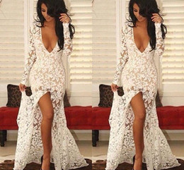 Sexy Illusion Deep V Neck Front Split Ivory Lace Evening Dresses Trumpet Long Lace Sleeve Party Gowns
