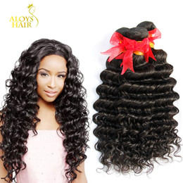 Unprocessed 8A Brazilian Deep Wave Curly Virgin Human Hair Weave Bundles Malaysian Mongolian Cambodian Indian Peruvian Hair Natural Black 1B