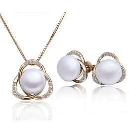 18KGP Pearl Necklace Earrings Sets For Women Wedding Jewelry Flower Best Jewelry Sets For Christmas Gift 1437