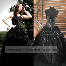 Wholesale 2015 Newest Designer Gothic Black Wedding Dresses Sexy Backless Applique Beaded Queen Victorian Halloween Party Evening Bridal Gowns