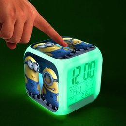 Wholesale Despicable Me LED Alarm Clock Lovely Minions Cartoon Figures Night Glowing Digital Clock Calendar Electronic Toys Best Christmas Gift SK357