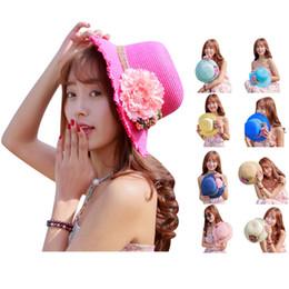 Chapeau souple rond en Ligne-Gros-Haut 2 015 femmes Affinez été brisé Brim Fleur rond et plat Straw Cap Summer Beach Floppy Hat Sun Hat