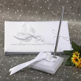 Wholesale Calla Lily Pens - Free Shipping Calla Lily Wedding Wedding Guestbook and Pen Set Wedding Decoration Party Ceremony Supplies