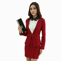 Wholesale-New 2015 Femininos Suits For Ladies Office Work Wear Tops And Skirt Business Women Uniforms Clothing Set