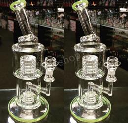 Nid d'abeille recycleur en Ligne-Nouveau Green Beaker Tuyaux d'eau Pipe de fumer Honeycomb Cendrier avec Percolateur d'ongle Stainless Glass Water Pipes Recycler Oil Rigs