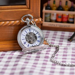 Wholesale Vine White Silver Engraved Case Men Mechanical Hand Winding Pocket Watch Necklace Double Open Case Men Women Luxury Gift