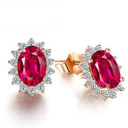 925 Sterling Silver Rings New Hot Luxury Princess Cut Wedding Engagement Rings Red Diamond Gemstone Geometric Earrings Stud For Women