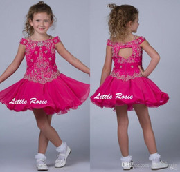 Little Rosie Kids Fuchsia Flower Girls Wedding Dresses Off Shoulder Toddler Cupcake Pageant Gowns Sequins Beading Ruffles Princesses Party