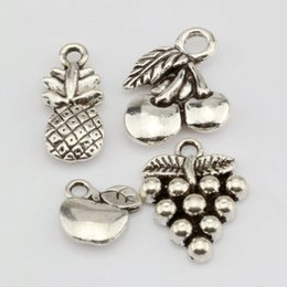 Wholesale Hot Sales Antique Silver Alloy Apple Grape Cherry Pineapple Mixed Fruit Charms Pendant DIY Jewelry