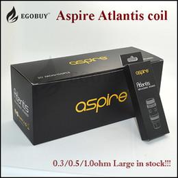 Promotion aspire atlantis méga Aspire atlantis bobine réservoir de BVC subohm 2 bobines authentique pour le réservoir de verre méga kit de démarrage atomiseur de platine de atlantis Aspire atlantis