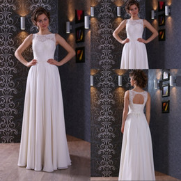 Unique Design A Line Jewel Floor Length Ivory Chiffon Beach Lae Wedding Dresses Keyhole Back Wedding Gowns New Arrival Bridal Dresses