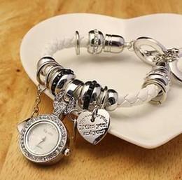 Reloj de cuero del cuarzo de las mujeres del reloj del cuarzo Reloj de la pulsera de las señoras del reloj del reloj Reloj Mujer Cuero Pulsera del corazón 6 colores BW-SB-41 desde cuero reloj pulsera corazón fabricantes