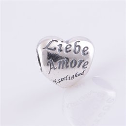 Wholesale LW181 Brand Big Discount Sterling Silver Charms Screw Thread Liebe Amore Print Heart Shape Bead Fit for Pandora Bracelets Women Jewelry