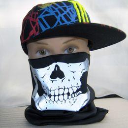 Skeleton Skull Face Mask Motorcycle fluorescent Multi functional Headwear Hat Scarf Half Neck Ghost Scarf