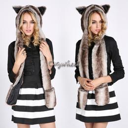 Promotion hoodie de la fourrure pour les femmes Gros-Faux Chapeaux de fourrure pour les femmes Oreilles longue écharpe mitaines animaux Hoodie blanc Husky capot d'hiver animal Hat 50