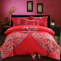 Wholesale 2015 The activity of cotton printing four pieces of red retro folk style bedding wedding four piece buckle Phoenix sanding Fenghuangkou