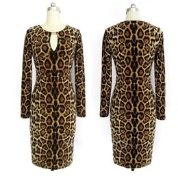 Promotion robes moulantes kardashian Robe Kardashian Robe de Soirée Leopard Club O Neck Longueur au Genou Longue Robe en Polyester Manche Robe Européenne Sexy Bodycon Piste