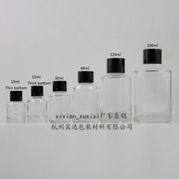 15ml clear Glass bottle With black aluminum screw cap and reducer.for Essential Oil or liquid cream or lotion,glass Container