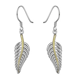Brand new sterling silver plated Feather earrings DFMSE038,women's 925 silver Dangle Chandelier earrings 10 pairs a lot