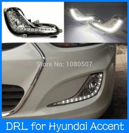 Wholesale LED Daytime Running Osram chips FOR Hyundai Accent Solaris Led drl daytime running light with fog lamp cup and controller