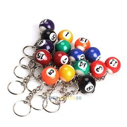 Wholesale LS4G Set of Billiard Pool Pendant Keychain Snooker Table Ball Key Ring Gift