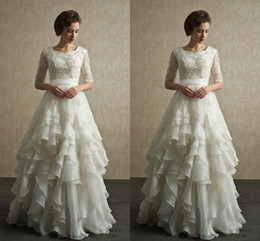 Wholesale Half Sleeves Lace Wedding Dresses Discount Modest Wedding Gowns With Sleeves Organza Floor Length Beach Bridal Dresses Plus Size