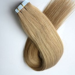 100g 40pcs 50pcs Glue Skin Weft Tape in Hair Extensions Brazilian Indian human hair 18 20 22 24inch #22 color