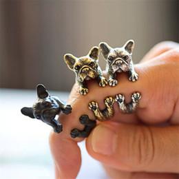 Wholesale iMixBox Vintage bulldog rings Dachshund Dog jewerly Gun Black Antique Silver Antique Bronze Sausage Dog Ring JR2008