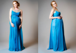 Prom Dress for Pregnant Women Maternity Evening Gowns Blue Chiffon Beaded O-neck A Line Full Length vestidos de festa Formal