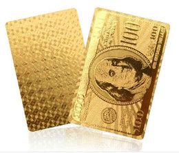 Gold Silver 24k Karat Golden Silver Foil plated waterproof plastic PVC Playing Cards poker game Dollor Euro Normal for Choice A5