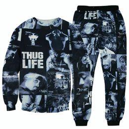 3D Hoodies hip hop suits tracksuits Tupac 2pac tracksuits harajuku hoodie & joggers pants 3d sportswear suits tracksuit plus size