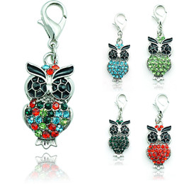 Hot Brand New Fashion Floating Charm Alloy Lobster Clasp Rhinestone 5 Color Owl Charms Pendants Jewelry Accessories