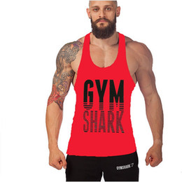 Wholesale 2016 colors Gym shark Stringer Tank Top Men Gymshark Bodybuilding and Fitness Men s Singlets GYM Tank Sirts Sports Clothes by DHL