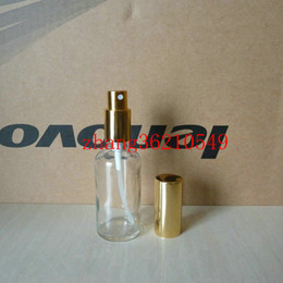 50ml clear transparent Glass perfume Bottle With aluminum shiny gold mist sprayer. perfume atomizer bottle container