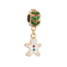 Christmas Gingerbread Man Cookie dangle metal slide bead European spacer charm fit Pandora Chamilia Biagi charm bracelet
