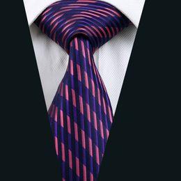 Purple Mens Necktie Stripe Silk Tie Business Necktie Jacquard Woven Work Meeting Formal Tie D-0246