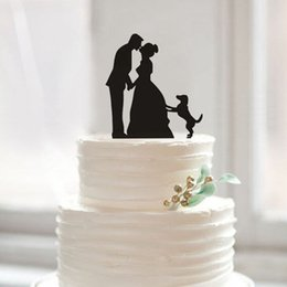 Wholesale Kissed Bride and Groom Wedding Cake Topper With Dog Bridal Cake Decorations Uk Cake Decorations Unique Wedding Supplies New