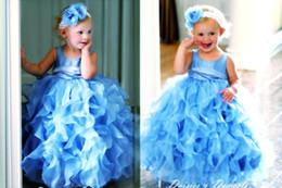 Sky Blue Organza Flower Girls Dresses For wedding A Line Cascading Ruffles Cute Pageants Gowns for Girls 2018
