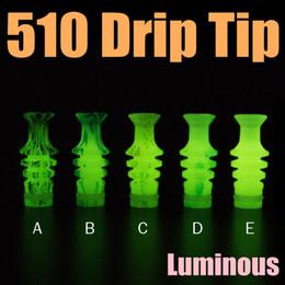 Promotion conseils pour e cig Plastique Luminous 510 gouttes d'eau pour E cigs Boulon à vis d'eau de transfert d'impression de la bouche Fit Tank Bat RDA Clearomizer Livraison gratuite FJ595