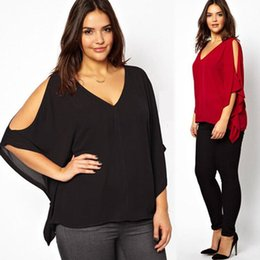 New Women Plus Size Chiffon Blouse Top V-Neck Batwing Short Sleeve Summer Loose Shirt Sexy Cut-Out Black Red Blouses MDF0266