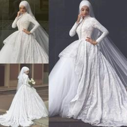 Muslim Wedding Dresses High Neck Long Sleeves Bridal Wedding Gowns Lace Winter Cathedral Ball Gowns New Arrival 2016 Wedding Dresses