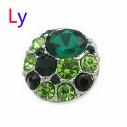 Wholesale Hot Sale Snap Buttons Jewelry mm Buttons Fashion DIY Charms Crystal Snaps Antique Metal Buttons green AC104