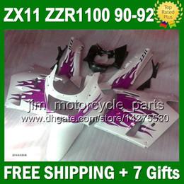 7gifts For KAWASAKI NINJA ZX11 90-92 Purple white 36#137 ZX-11 ZZR 1100 Purple white 90 91 92 ZX11R ZZR1100 ZX 11 1990 1991 1992 Fairing